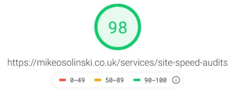 Google Page Speed Insights Score
